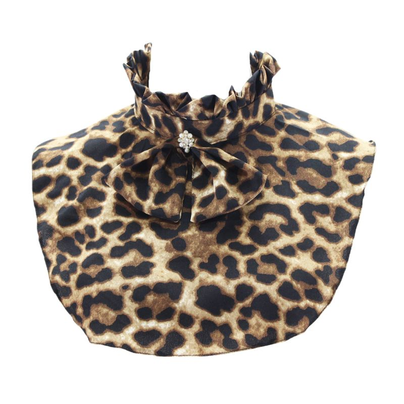 Pleated Ruffles Stand Fake Collar Retro Leopard Printed Bowtie Necklace Choker Neck Warmer For Women Clothing Decor