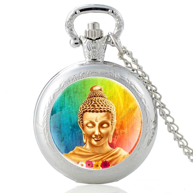 Classic Buddha Statue Design Vintage Quartz Pocket Watch Men Women High Quality Pendant Necklace Hours Clock Gifts