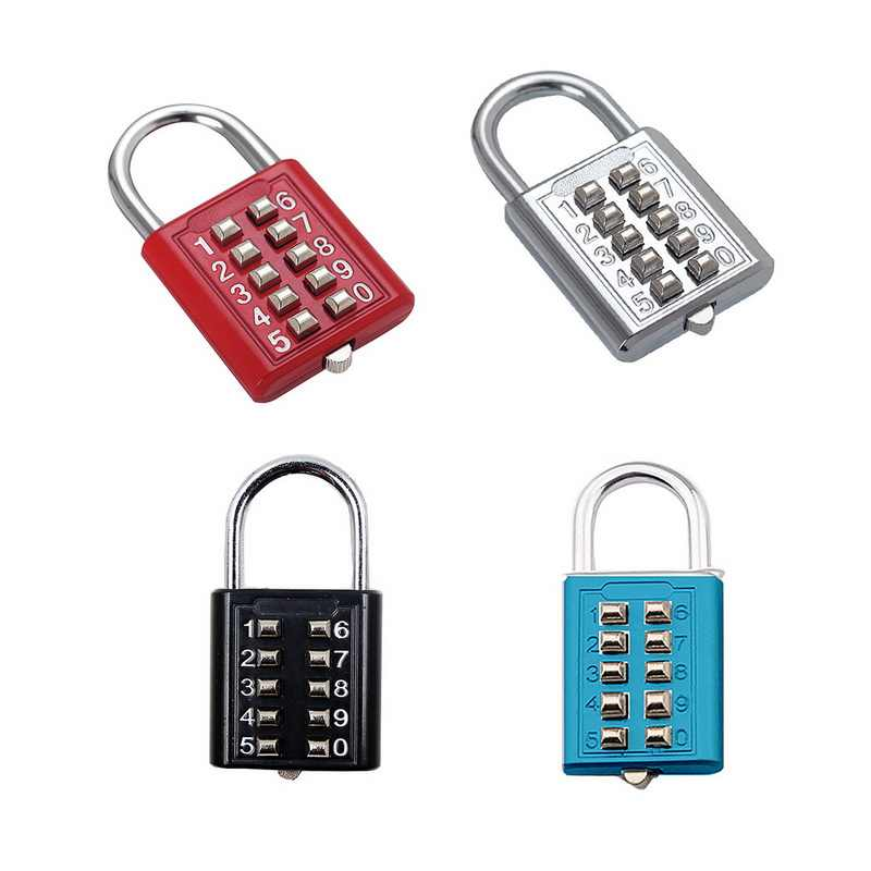 10 Digit Push Button Combination Padlock 5 Digit Locking Mechanism Zinc Alloy Anti-theft Digit Push Password Lock 4 Colors