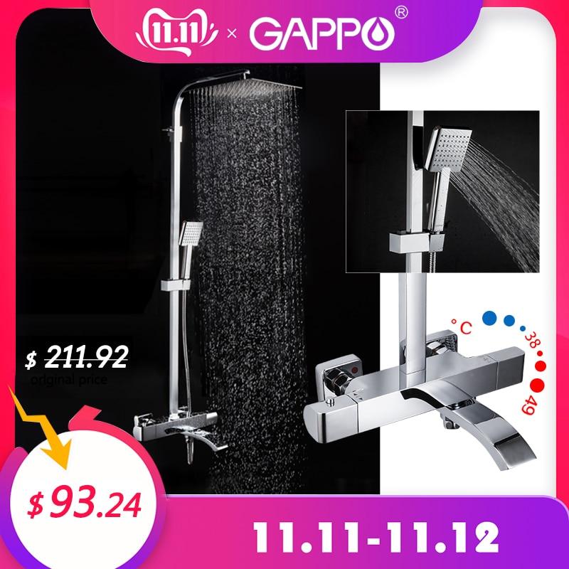 Gappo torneiras de chuveiro termostática misturador do banheiro torneira do chuveiro banheira misturador fixado na parede chuvas chuveiro torneiras misturadoras
