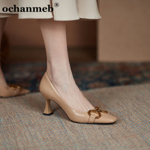 ochanmeb chic gold metal chain shoes women cow natural genuine leather pumps thin high heeled square toe office shoes ladies new