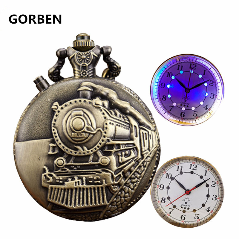 2020 New Train Locomotive Engine Pattern LED Lighting Design Pocket Watch Necklace Pendant Chain Unisex Gifts Clock Cep Saati