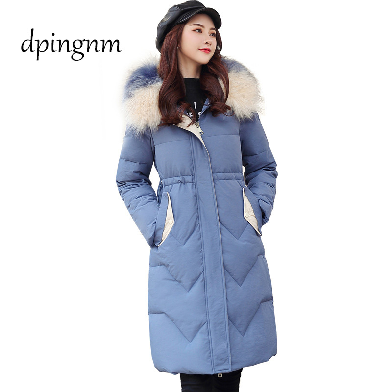 2019 New Full Women Winter Jacket Hood Design Thick Coat Cotton   Parka   Style Jackets Real Fur Collar BLueY170016