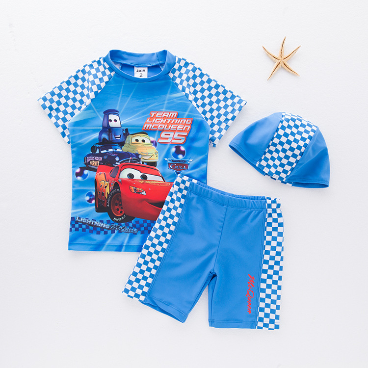 Boys' Cotton One-piece Swimsuit Car-Swimwear Children Hot Springs Tour Bathing Suit