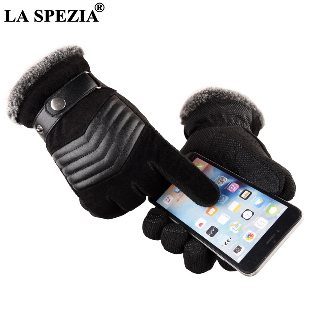 LA SPEZIA Brown Mens Leather Gloves Real Pigskin Russia Winter Gloves Warm Thick Driving Skiing Men's Gloves Guantes Luvas