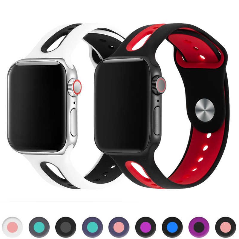 Correa deportiva para apple watch banda 44mm 40mm apple watch 4 5 banda 42mm 38mm iwatch 5/4/3/2/1 pulsera de goma de silicona