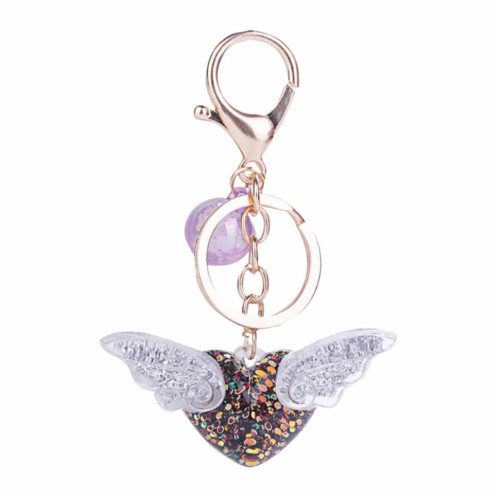 พวงกุญแจน่ารักผู้หญิงอะคริลิค Angel Wing แหวนเลื่อม Key Chains เลื่อมสวย Key CHAIN ของขวัญผู้หญิง Llaveros Mujer