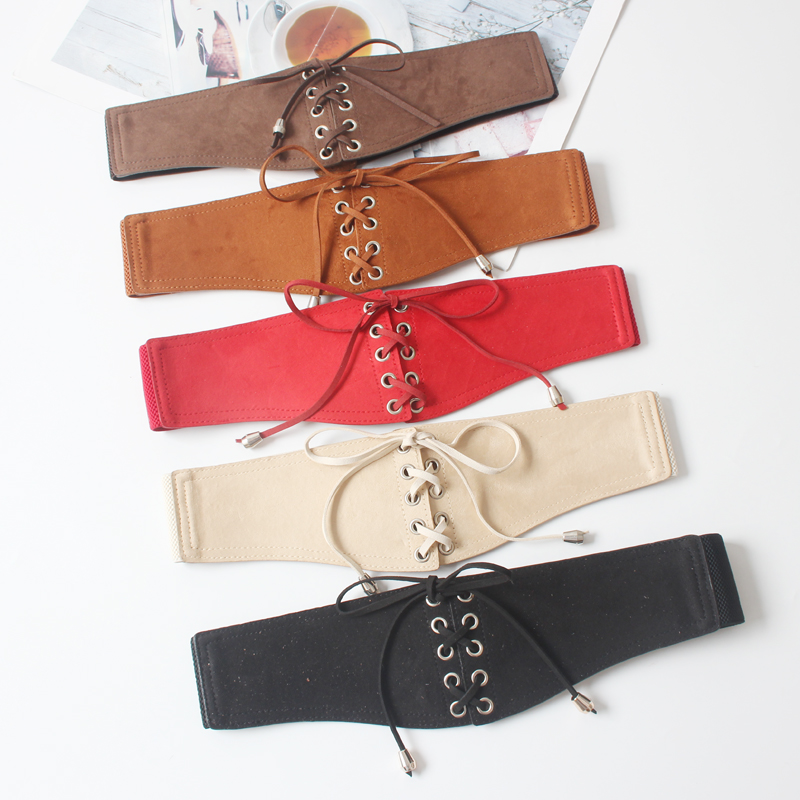 Long Velvet Belt Suede Dress Belts Female Circle Knot Black Waistband Red Brown Decorate Coat Sweater Belt Waist Seal Tide SW120