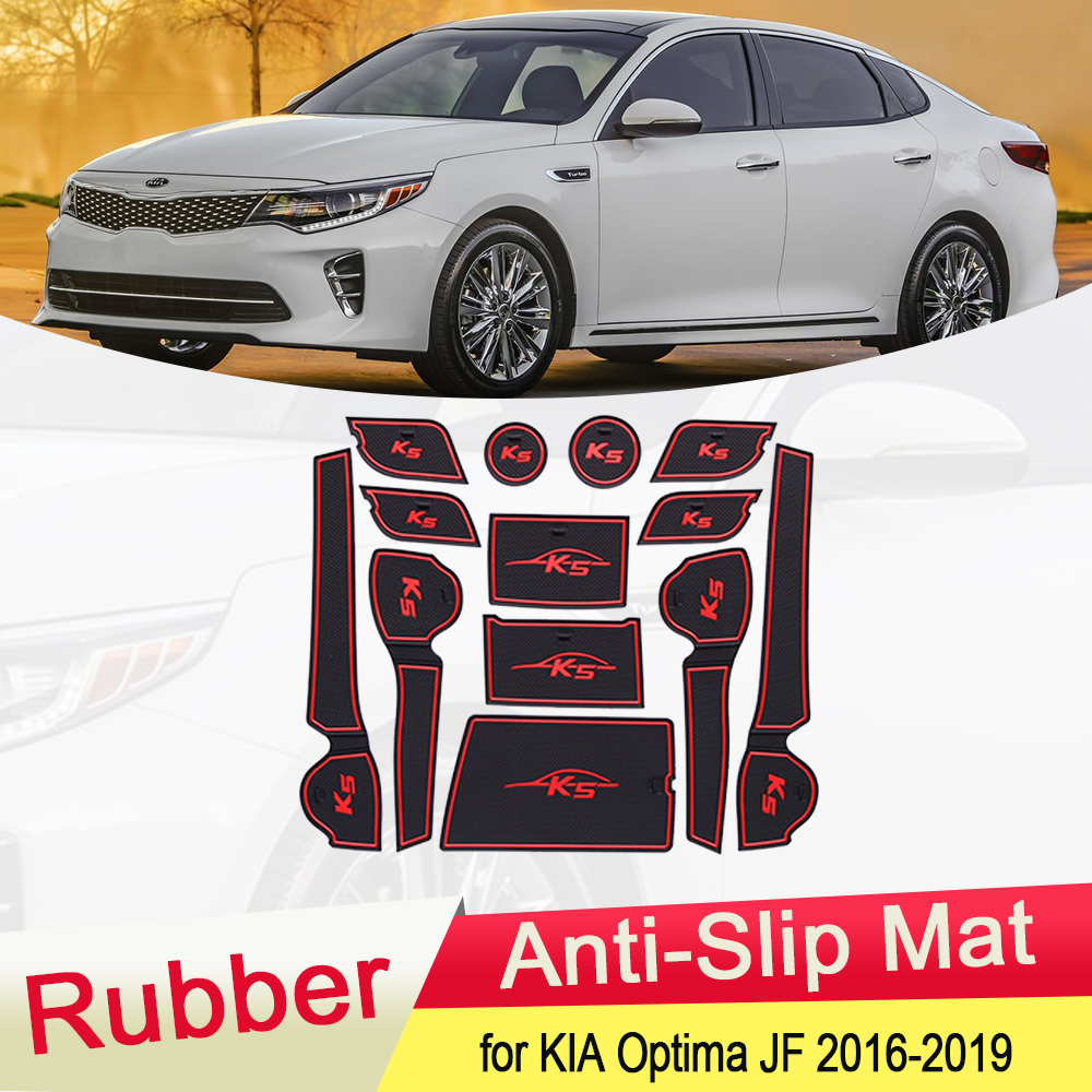 for KIA Optima JF K5 MK4 2016 2017 2018 2019 Rubber Anti-slip Mat Door Groove Cup pad Gate slot Coaster Interior Car Accessories image