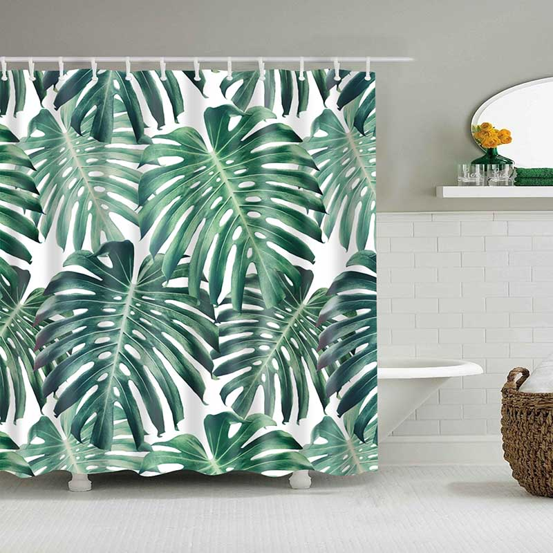 Image 4 - Green Tropical Plants Shower Curtain Bathroom Waterproof Polyester Shower Curtain Leaves Printing Curtains for bathroom shower-in Shower Curtains from Home & Garden