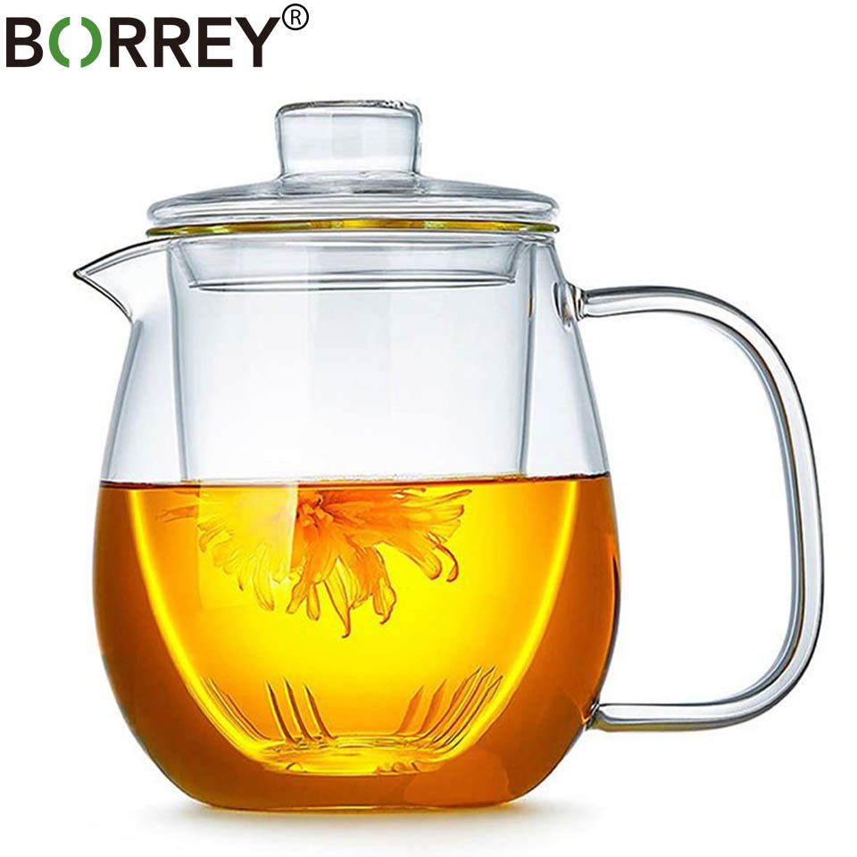 Glass Gongfu Teapot Tea Maker with Infuser Removable Tea Ware Tea Pot