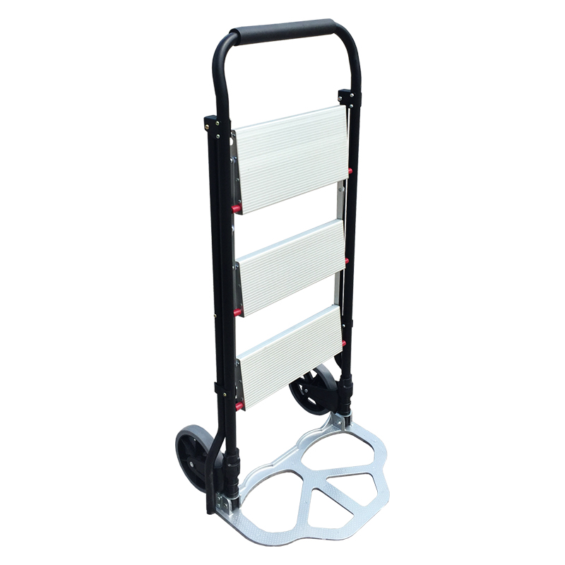 Dual Use Cart Ladder Folding Cargo Trolley Household Aluminum Alloy Ladder Load For 150KG Sturdy Steel Bracket Rubber Wheels