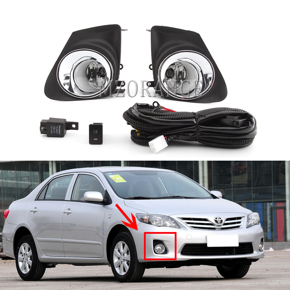 Fog Light For Toyota Corolla 2011-2013 Headlight Fog Lights Fog Lamps Switch Grille Cover Halogen LED Foglights Frame Headlights