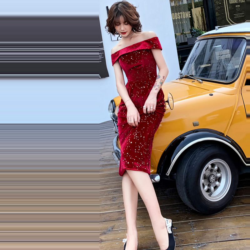 Evening Dress Off The Shoulder Robe De Soiree Short Sleeve Lace Up Women Party Dresses Boat Neck Formal Evening Gowns 2019 F150