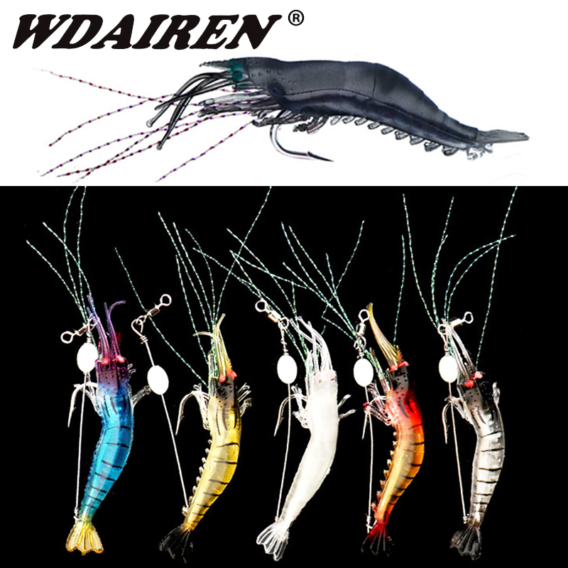 5pcs/lot Luminous Shrimp Soft Lure Artificial Silicone Bait With Hooks Swivels Lures Set Anzois Sabiki Rigs Fishing Tackle