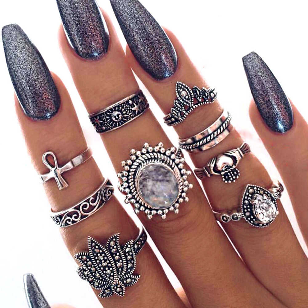 New 13pcs/Set Bohemia Retro Metal Purple Crystal Knuckle Midi Fingers Rings Set for Women Geometric Vintage Rings Sets Jewelry