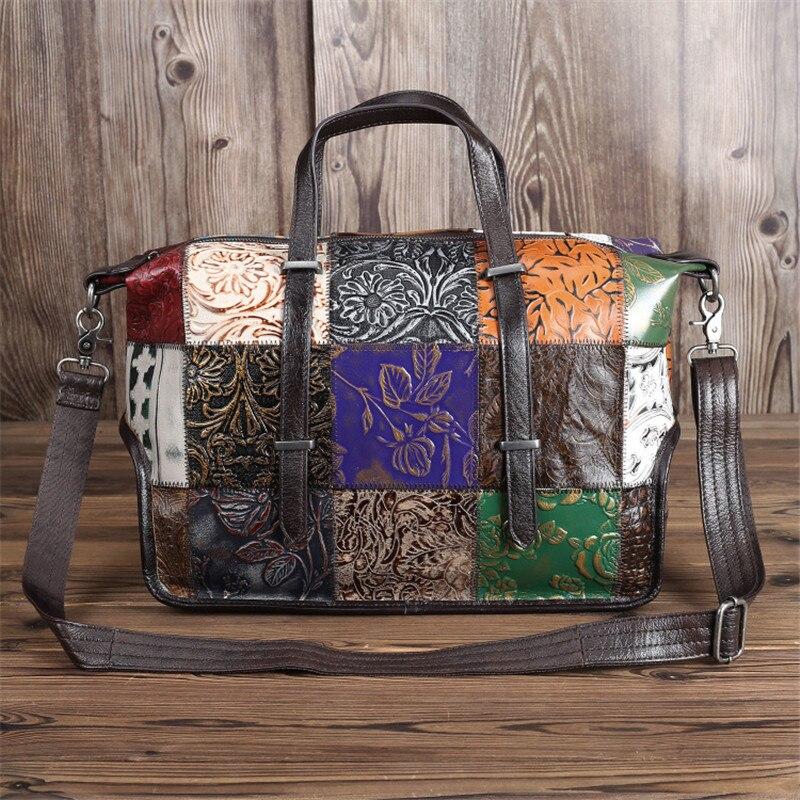Unique Fashion Bohemia Large Roomy A4 Genuine Leather Women Handbags Briefcase Female Shoulder Messenger Bags Totes M090