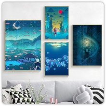 Modular Pictures Home Decoration Cartoon Night Moon Wall Art Nature View Modern Canvas Prints Painting For Bedroom Poster Frame