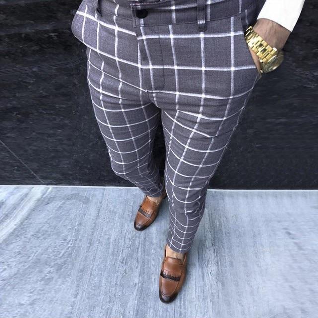 KANCOOLD Smart Casual Pants Fashion Cotton Midweight men's pants Casual Business Slim Fit Plaid Print Zipper Long Pants Trousers 3