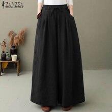 ZANZEA – Pantalon élégant à jambes larges pour femme, culotte Palazzo, taille élastique, navet, 5XL, collection automne