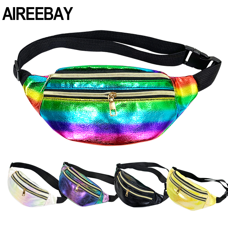 AIREEBAY 3-Zipper Pocket Women Fanny Pack Colorful Holographic Waist Pack For Ladies New Leather Travel Phone Pouch Chest Bags