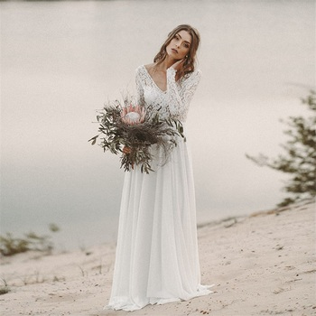 Beach Wedding Dress Long Sleeve Boho V Neck Backless Bridal Dresses 2020 Chiffon Princess Lace Gown novia
