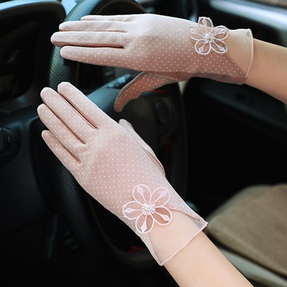 Women Summer Anti-UV Thin Lace Elastic Full Finger Touch Screen Cycling Gloves Stop The Flying Spit For Summer