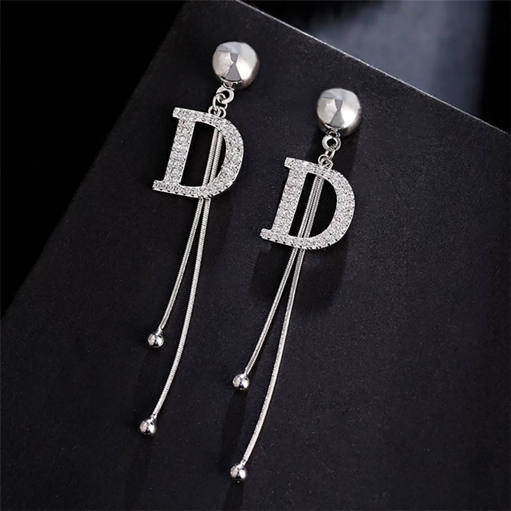 2021 Элитный бренд Длинная цепочка в форме буквы D с Висячие серьги для женщин с украшением в виде кристаллов серьги-подвески большого размера...