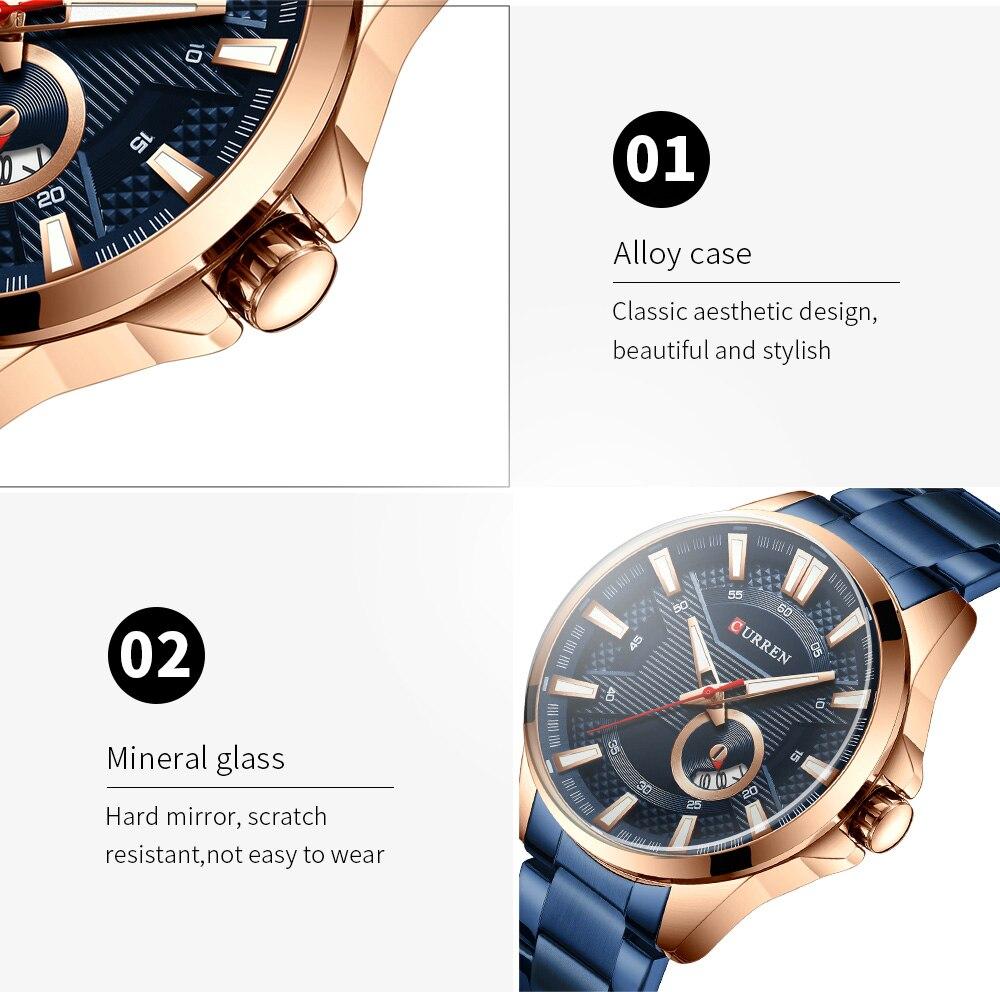 Hbed86a16e72549a894130d44ae82e3b6z New Stainless Steel Quartz Men's Watches Fashion CURREN Wrist Watch Causal Business Watch Top Luxury Brand Men Watch Male Clock