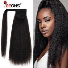 Leeons nuevas piezas largas de cabello sintético Afro rizado cola de caballo, extensiones de cabello con cola de caballo con cordón Natural, piezas de cabello falso
