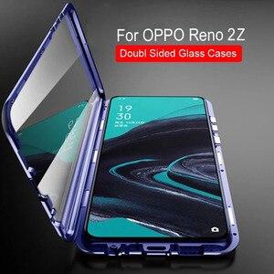 Image 2 - Чехол для OPPO Reno 2Z 2F, двухсторонний металлический магнитный стеклянный Магнитный чехол 360, чехол для Reno 2 Z 10X Zoom, Противоударные Защитные чехлы