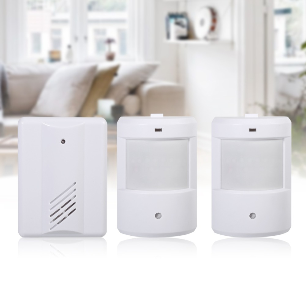 Wireless Infrared Alarm Wall Hanging Alarm Welcome To Doorbell Alarm System Home Receiver Transmitter Human Body Motion Detector