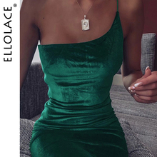 Ellolace Elegant Dresses Women One Shoulder Bodycon Sleeveless Backless Solid Slim Velvet 2019 Fashoin New