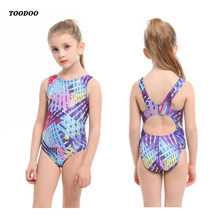 2020 New Professional Girls One-piece Swimming Trunks With Crotch High quality Digital Print bathing Children suit Swimsuit(China)