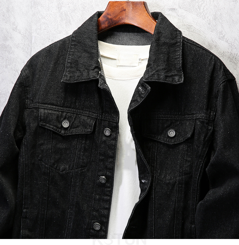 KSTUN Famous Brand Jean Jackets for Men Denim Jacket Solid Black Casual Embroidered Letters Fashion Desinger Man Classic Outwear Coats 12