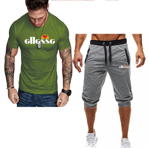 Image 2 - Summer Two Pieces Sets Mens Casual Tracksuit Brand Men Print Sportswear T Shirts Sets mens t shirt+shorts Fitness Gym Suits