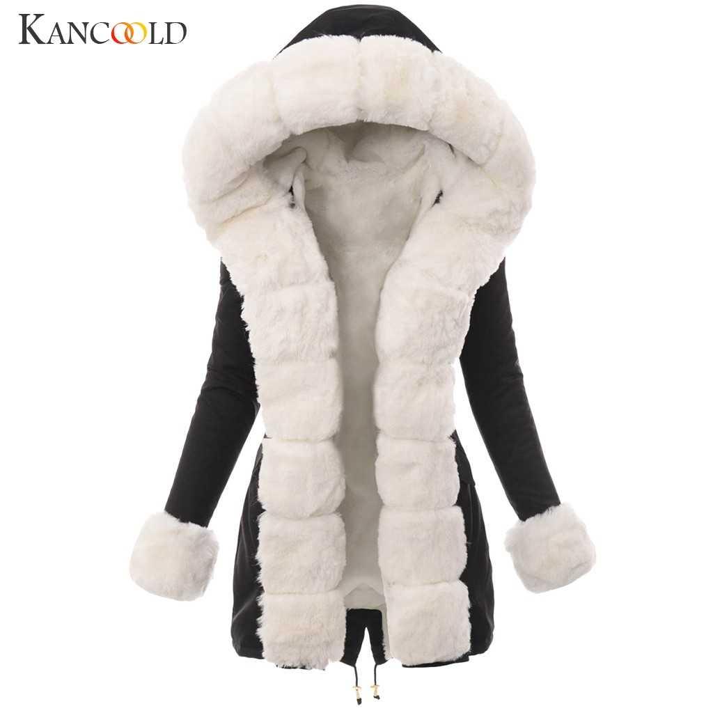 Kancoold 코트 여성 겨울 따뜻한 봉 제 모방 모피 자 켓 splicing 긴 후드 오버 코트 포켓 패션 새 코트 여성 2019dec4