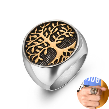 Jiayiqi Stylish Ring for Men Stainless Steel Tree of Life Rings Women Silver Gold Wedding Ring New Punk Rock Hiphop Jewelry Gift