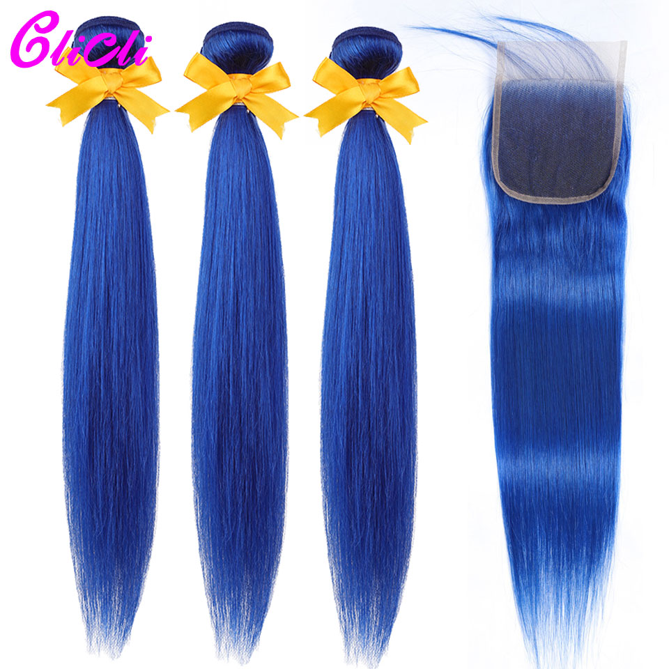 Malaysian Human Hair Weave Bundles With Closure Colored Blue Straight Remy Hair 3 Bundles With 4x4 Lace Closures Extensions