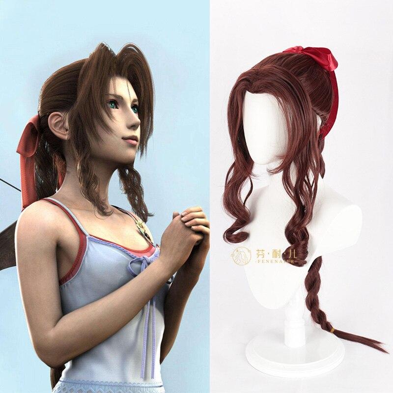 Последняя фантазия VII Aerith Gainsborough Косплей каштановые парики длинный волнистый парик для косплея термостойкие синтетические волосы, парик
