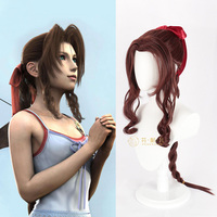 Final Fantasy VII Aerith Gainsborough Cosplay Wigs Brown Long Curly Cosplay Wig Heat Resistant Synthetic Hair Peruca