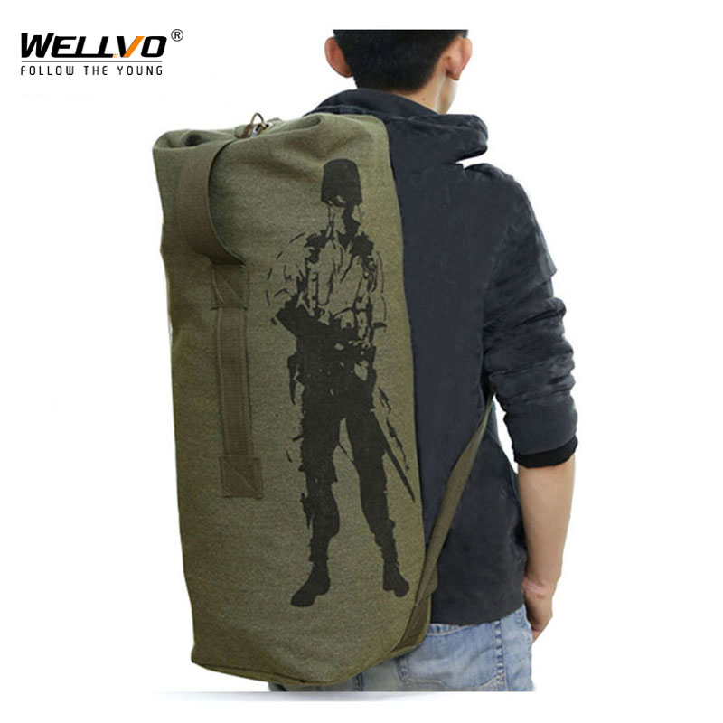 Men's Travel Bag Army Green Bucket Bags Military Backpack Canvas Backpacks Large Duffle Men Shoulder Bags Fishing Bag XA820C