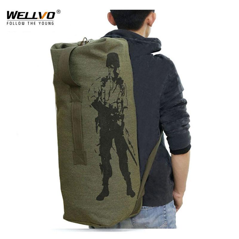 Men's Travel Bag Army Green Bucket Bags Military Backpack Canvas Backpacks Large Duffle Men Shoulder Bags Fishing Bag XA820C