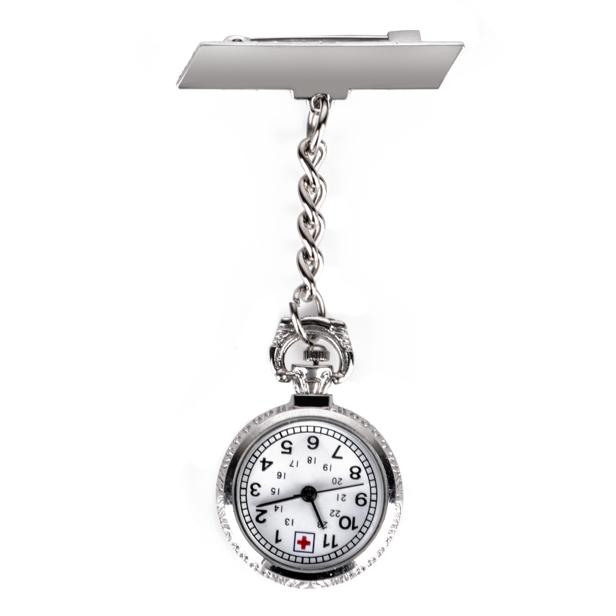 Pocket Watch Simple Silver Color Metal Chain Clip On Pendant Chain Pocket Fob Watches For Medical Doctor Nurse Beauticians Clock