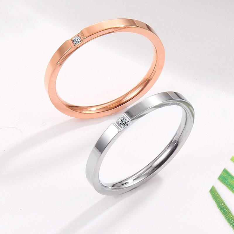 Fine-cut single diamond ring Rose gold micro-set Couple couple Female titanium steel