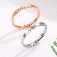 Fine cut single diamond ring Rose gold micro set diamond Couple couple ring Female titanium steel ring