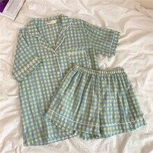 Pijamas de verão conjunto feminino manga curta xadrez casa terno turn down collar algodão sleepwear solto shorts pijamas casual roxo y026