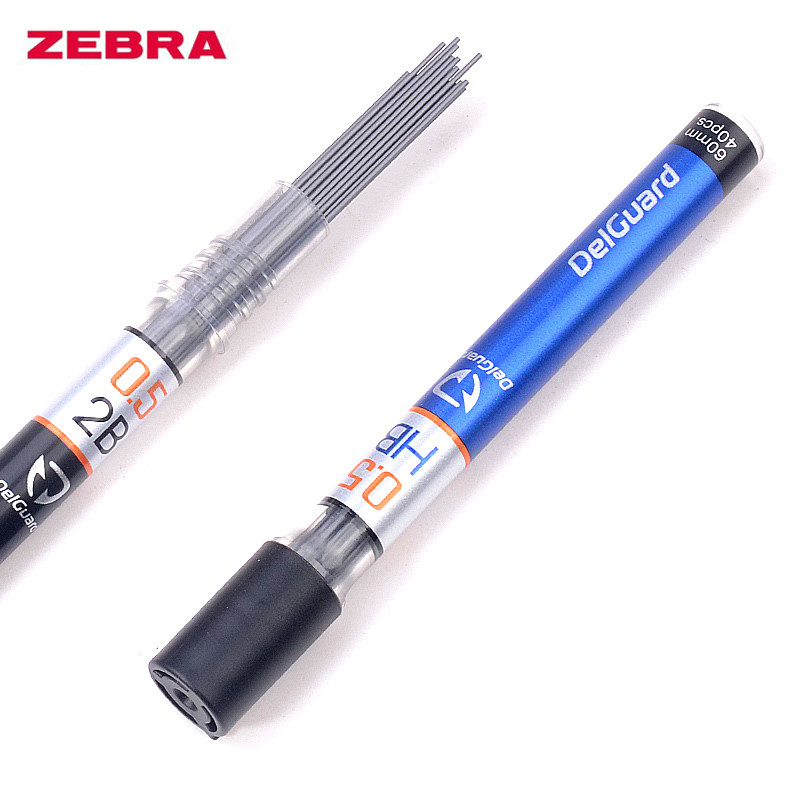 3 Tubes Zebra DelGuard High Hardness Graphite Lead Core Mechanical Pencil Refill 0.3/0.5/0.7mm No Break 2B/HB/B School Supplies image