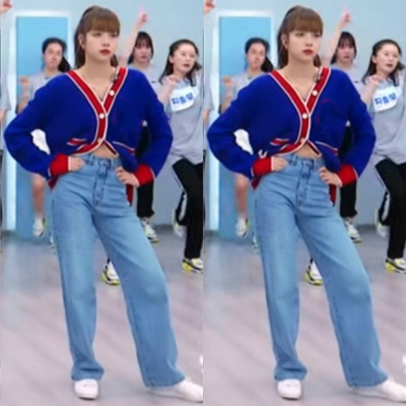 Kpop Blackpink LISA Spring New Blue V-neck Knit Cardigan Sweater Coats+loose Casual Straight Jeans Trousers Women Two-piece Set