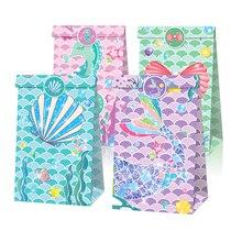 Sacs cadeaux en forme de queue de sirène 12 pièces, décor de petite sirène, décorations de fête d'anniversaire pour filles, boîte d'emballage de bonbons et biscuits